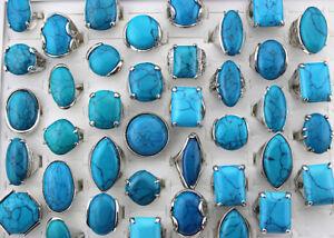 Job Lots 30pcs turquoise stone Silver P Charm rings Big Lady Vintage Jewellery