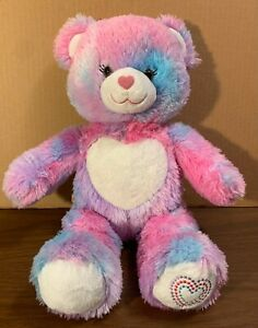 "Build a Bear 16"" Plush Forever Heart Teddy Bear Tie Dye Stuffed Animal Pink Blue"