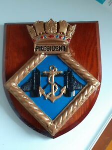 HMS President shield plaque crest Royal Naval Reserve RN RNR Navy Hand Painted