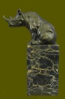 Fantastic Detailed White Rhinoceros Bronze Rhino Art Figurine Statue Sculpture