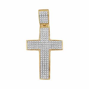 10kt Gelbgold Herren Rund Diamant Römische Kreuz Anhänger 1/2)