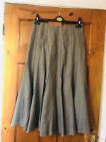 M&S/Per Una Khaki Linen Panelled Kick Flare Midi Skirt Size 8