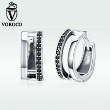 Voroco Christmas 925 Sterling Silver Pure love Earrings Charm CZ Women Jewelry
