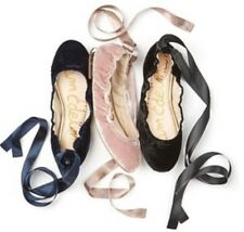 bd21ecd32 Sam Edelman Women s Fallon Ballet Flats Pink Mauve Velvet Wraparound Ankle  ...