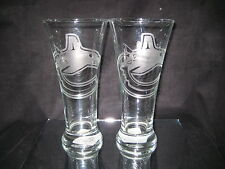 VANCOUVER CANUCKS 2 ETCHED LOGO PILSNER 20 oz GLASSES