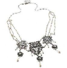 Nouveau Antiq Floral Filigree Wedding Pearl Choker Necklace W/ Swarovski Crystal