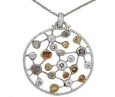 Diamond Pendant with Polished and Rough Diamond Art Work Piece 18K Gold 8.01 TCW