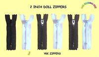 "6 Nylon YKK DOLL zippers 2"" inch for Sewing & Repair Doll Clothes BLACK & WHITE"