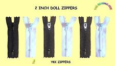 """6 Nylon YKK DOLL zippers 2"""" inch for Sewing & Repair Doll Clothes BLACK & WHITE"""