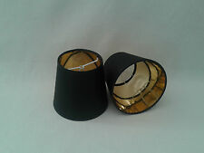 Small Black Candle Clip On Lampshade Gold Lining Ceiling Light Shade Handmade