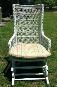 1920-30 Antique White Wicker Platform Rocker Caned Seat