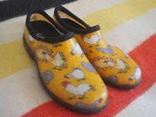 SLOGGERS Chicken Print Rubber Low Garden Yard Rain Shoes Yellow Womens Sz 9