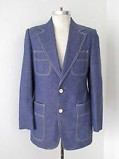 Vtg 70s Blue Chambray Denim Boating Yachting Sportcoat Blazer Jacket 4-Pocket 40