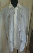 Costume Indian Asian Mens cream long sleeved shirt embroidery cutwork size L