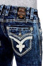 Sz 30 New Rock Revival Men's Tyson A9 Alt Straight Jeans Dark Blue Distress