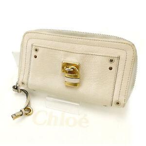 Chloe Wallet Purse Long Wallet Beige Woman Authentic Used Y1847