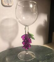 Art Glass Hand Blown Grape Cluster Stem Wine Glass Cup Goblet Kiddush Murano Euc