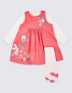 M&S Marks & Spencer 3 Piece Cord Dress Bodysuit Tights Bunny/Bird Pink BNWT