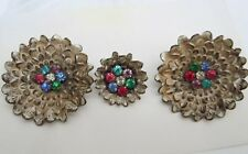 Fabulous Vintage Metal Enamel Rhinestone Flower Buttons - Group Of 3