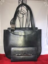Gucci Vintage Black Leather Handbag Tote With Matching Wallet