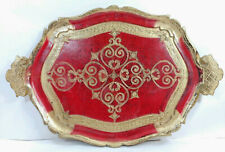 """Antique Italian Florentine Wooden Tole Tray Red & Gold Platter Toleware 18""""x11.5"""