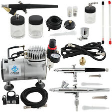 OPHIR 3 Gun Airbrush Dual-Action & Single-Action Kits Air Compressor Tattoo Set