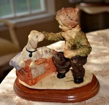 """""""Dog for Sale"""" Boys Best Friend! figurine with wood base ~ Boy, Dog and Puppies"""