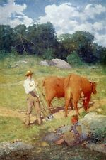 Oil painting julian alden weir - Ploughing for Buckwheat farmer with cows child
