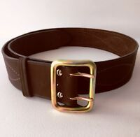 Russian army officer brown leather belt stitched thread metal buckle original