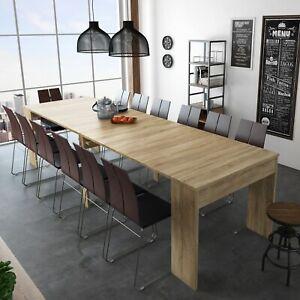 Mesa de comedor consola extensible hasta 301 cm mesa cocina, color Roble Claro