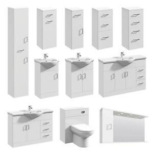 Bathroom Vanity Unit White Basin Sink Storage Mirror Cabinet WC Toilet Furniture