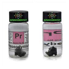 Praseodymium metal element 59 Pr sample 1 gram piece 99,9% in labeled glass vial