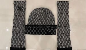 Chanel Cashmere Arm Gloves & Beanie Hat