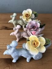 3x Überwältigende Pudel / Vintage Chorleyfigurines/Sammel Süße Hunde &flower
