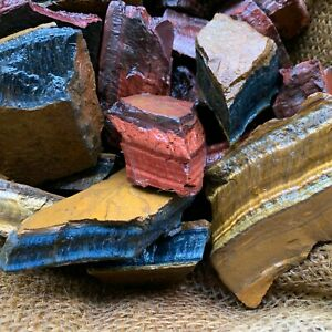 MIXED Tiger Eye Rough (RED, BLUE, GOLD) - 500 Carat Lots+a FREE Faceted Gemstone