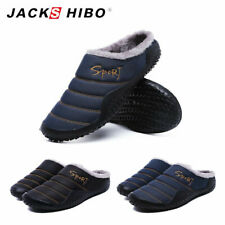 Mens Comfortable Slippers Plush Lining Winter House Anti-Skid Shoes Indoor Boots