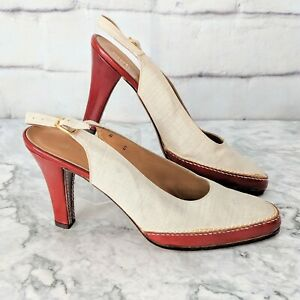 Vintage ANDREW GELLER Italy Beige Canvas Slingback Red Leather Heels Shoes 8S