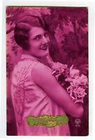 c 1930 French Deco PRETTY FLAPPER Glamour Glamor photo postcard