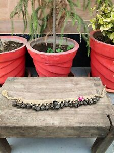 Antique Old Primitive Hand Forged Horse And Cow Neck Tying Brass Bell Rope Chain