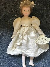 Porcelain Doll With White Dress And Fan