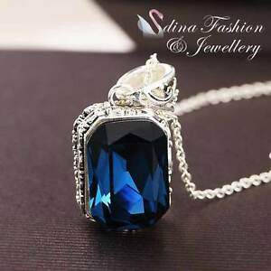 18K White Gold Plated Made With Swarovski Crystal Radiant Cut Sapphire Necklace