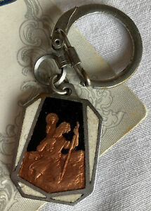 VINTAGE SAINT CHRISTOPHER gold enamel religious icon Key Ring Chain #C62
