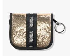 Victoria's Secret Pink Gold Glitter Wallet Zip around; Key Ring. NEW