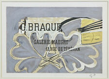 """Galerie Maeght 1952"" by Georges Braque Signed Lithograph 6 1/2""x9"""
