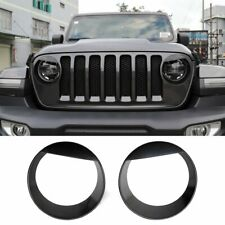 Black Front Headlight Cover Trim Angry Bird Eyes Style for 2018 Jeep Wrangler JL