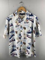 Keeler Bay Men's Vintage Short Sleeve Hawaiian Train Plane Shirt Size XL White