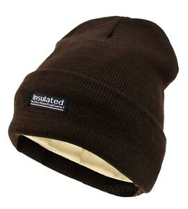Mens Womens Winter Thermal Fleece Lined Insulated Knit Beanie Hat Cuff Cap Ski