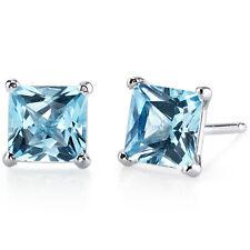 14k White Gold Princess Cut Swiss Blue Topaz Gemstone Stud Earrings