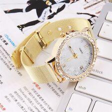 Women's Crystal Round Quartz Stainless Steel Mesh Band Wrist Watch Gift GT