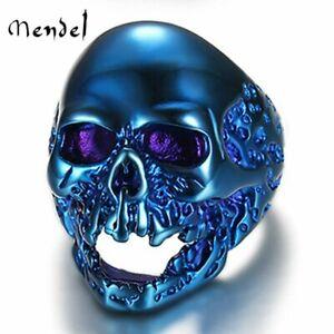 MENDEL Large Gothic Biker Mens Blue Skull Ring For Men Stainless Steel Size 7-15